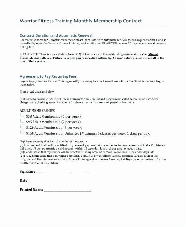 Free Printable Personal Training Contract Template Form Generic