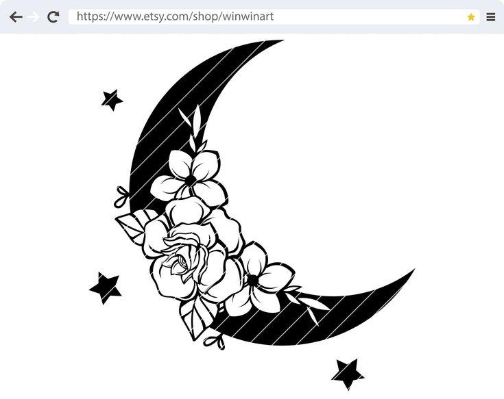 Moon flower svg Moon floral svg Moon svg Floral svg Flower