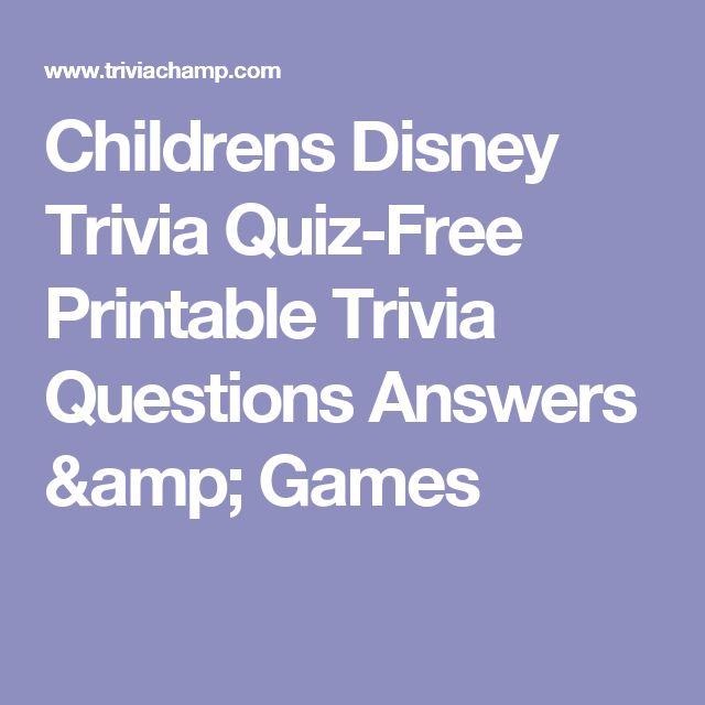 Childrens Disney Trivia Quiz-Free Printable Trivia Questions Answers & Games