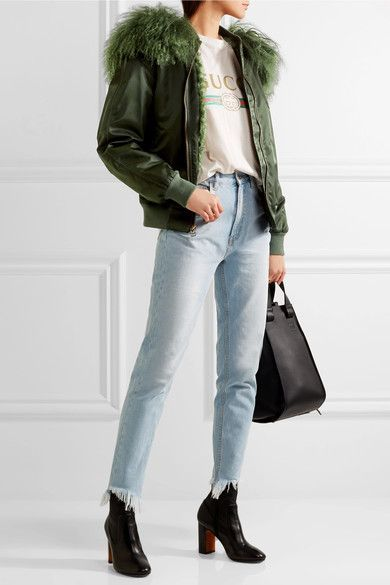 Forest-green shell and shearling Zip fastening through front 98% polyamide, 2% polyurethane; trim: 100% shearling (Sheep); lining: 65% polyester, 20% acetate, 15% viscose Dry clean Made in Italy