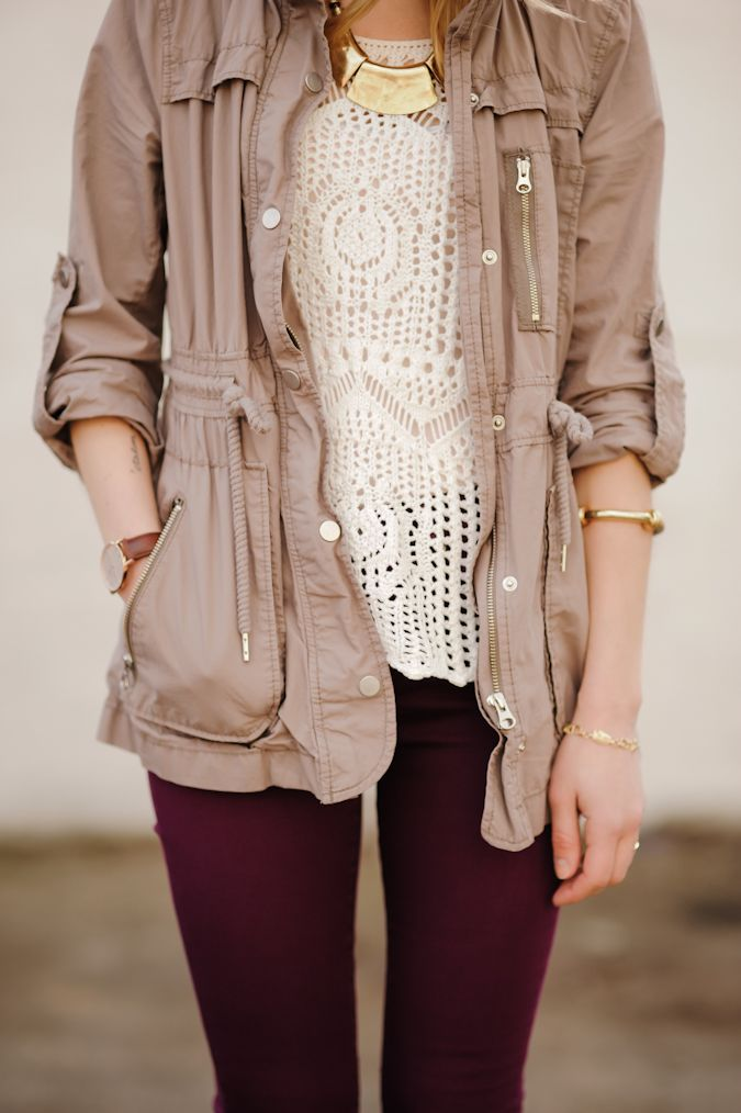 Khaki Utility Jacket + White Crochet Top + Oxblood Skinny Jeans