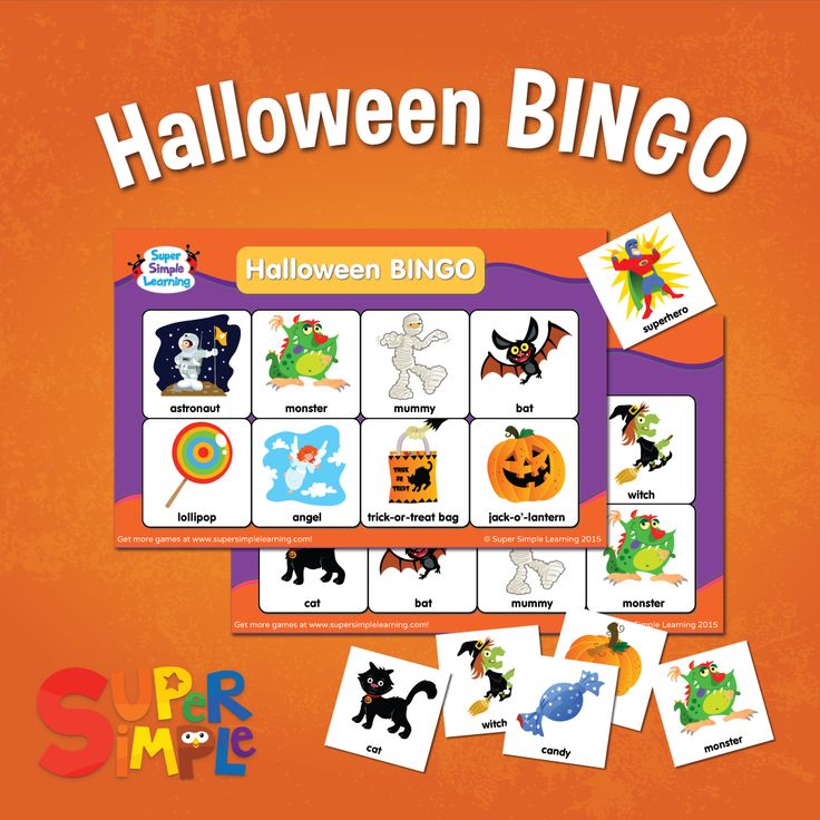 halloween bingo game from super simple learning - Preschool Halloween Bingo