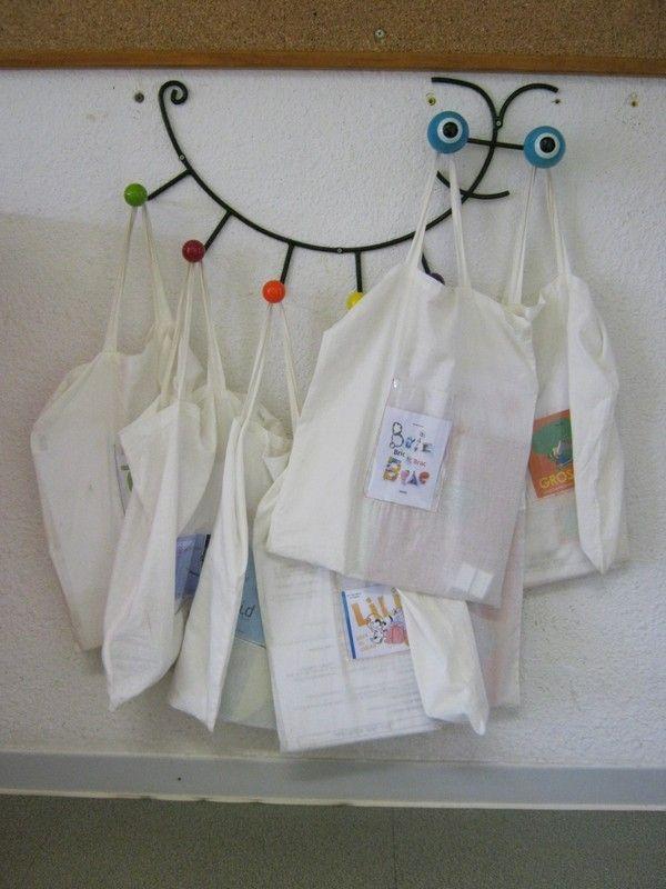 Suite à une question posée sur le blog concernant l'accrochage des sacs à album dans la classe (je n'ai pas réussi à le retrouver !), j'ai enfin pris le temps de prendre en photo ce qui me sert de support pour les sacs à album : il s'agit d'un porte –...