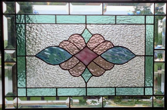 Victorian stained glass panel window hanging pastel stained