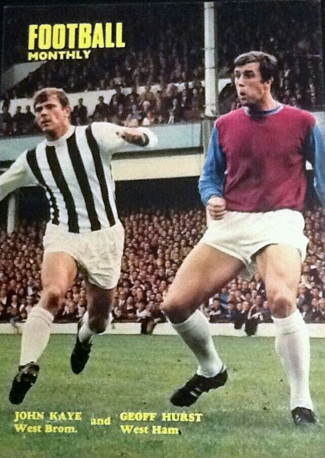 West Ham 1 West Brom 3 in August 1969 at Upton Park. John Kaye and Geoff Hurst in action #Div1