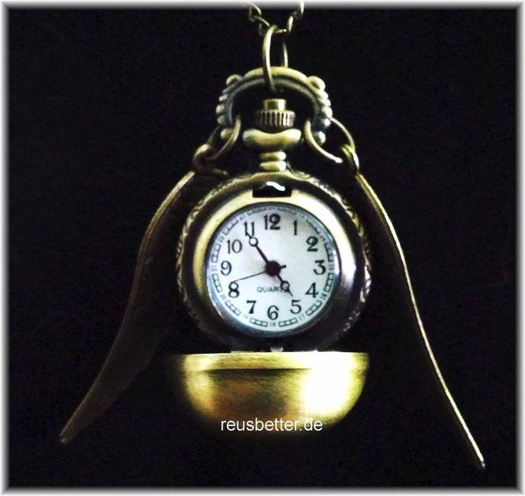 > Harry Potter Golden Snitch Quidditch Kette Uhr Anhänger Goldener Schnatz >