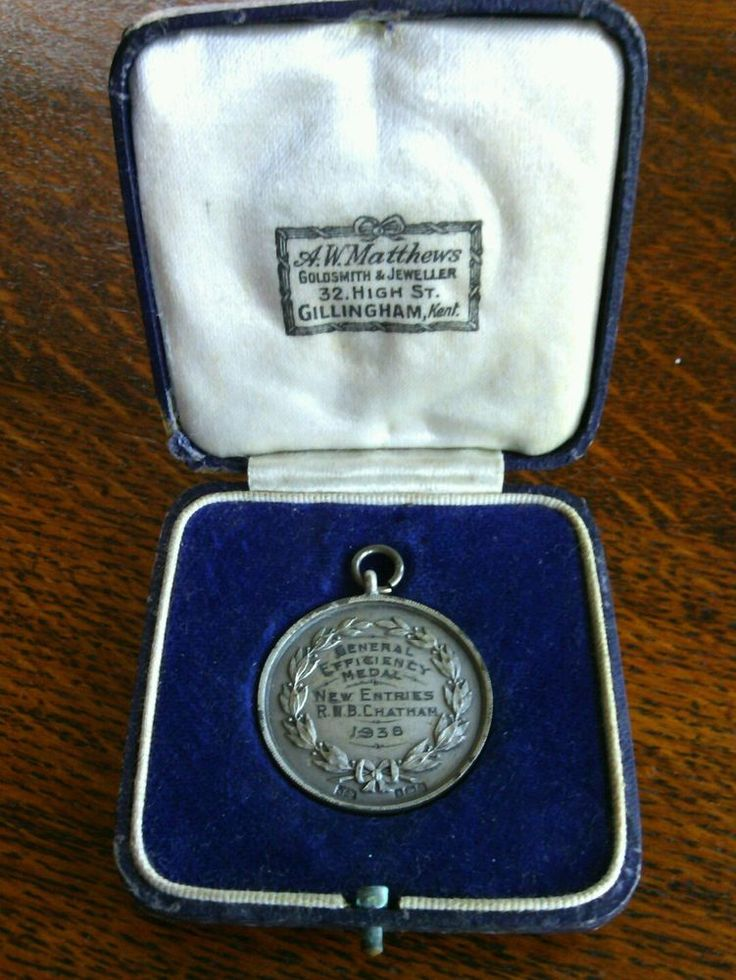 Silver General Efficiency Medal New Entries Royal Naval Chatham 1938 England WW2   eBay