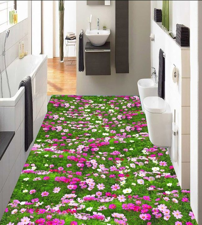 Cheap wallpaper rose, Buy Quality stickers spoon directly from China stickers ballon Suppliers: 3 d pvc flooring custom wall sticker 3 d plant flowers and grass 3 d bathroom flooring painting photo wallpaper for walls 3d
