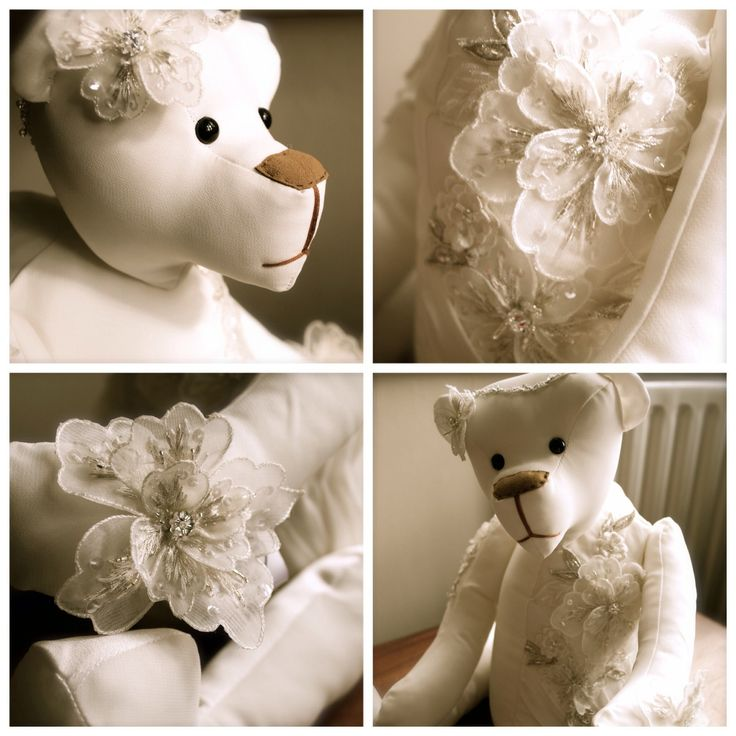 Wedding dress bear, made from your own wedding dress. Www.bowmanbears.com