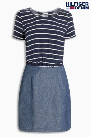 Buy Navy Tommy Hilfiger Denim Quanna Stripe Top Dress from the Next UK online shop
