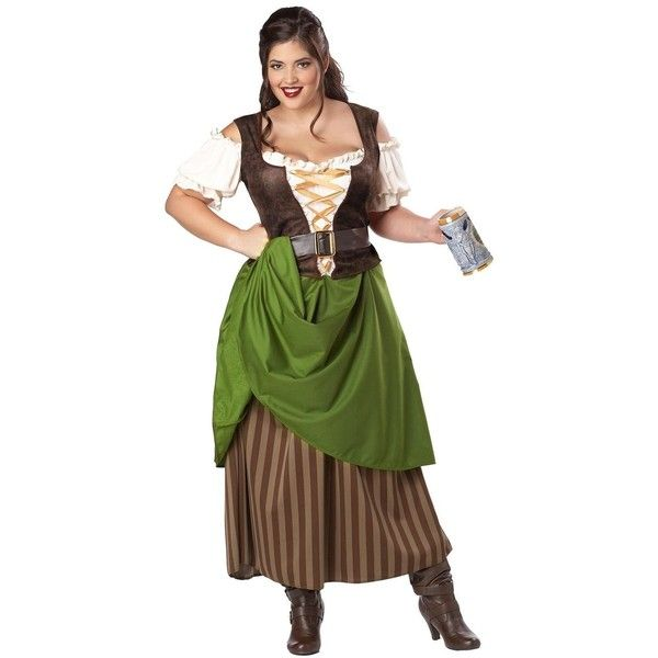 Tavern Maiden Plus Size Adult Costume ($46) ❤ liked on Polyvore featuring costumes, halloween costumes, plus size womens costumes, women's plus size halloween costumes, renaissance festival costumes, plus size costumes and adult halloween costumes