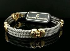 PHILIPPE CHARRIOL Stainless Steel Cable 18K Gold Bracelet