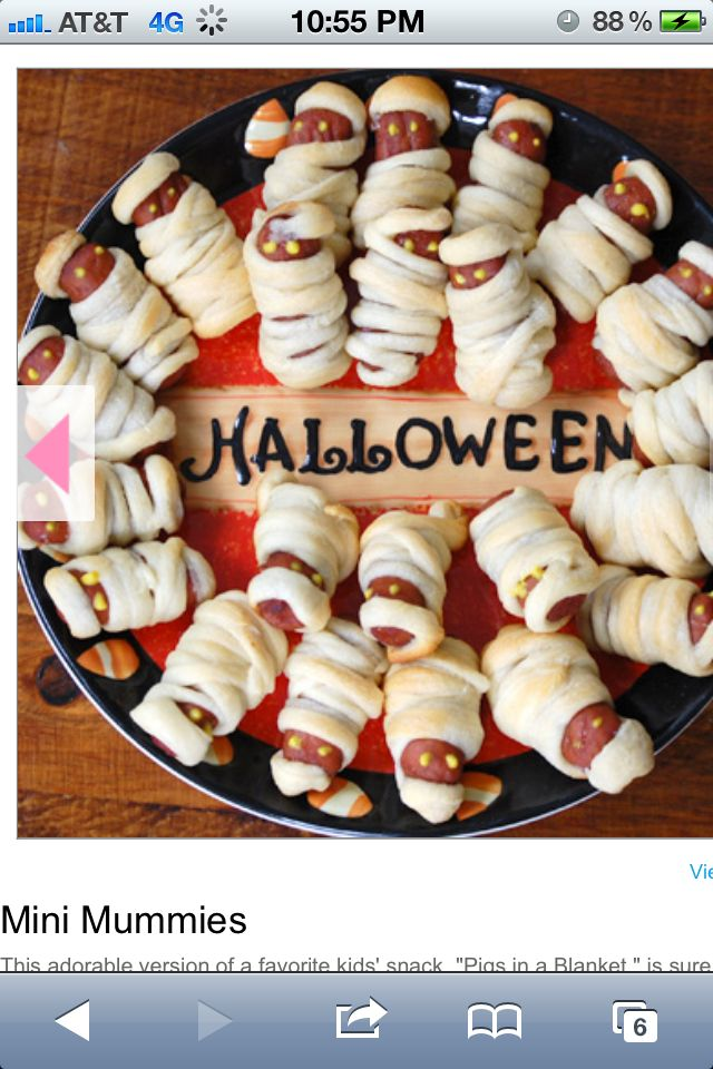 Pigs in blankets, Mummy style!  Creative & funny. Super Halloween party food idea.  ✿´¯`*•.¸¸✿✿´¯`*•.¸¸✿✿´¯`*•.¸¸✿✿´¯`*•.¸¸✿✿´¯`*•.¸¸✿  Click and join us here---for more every day fun, tips, recipes, weight loss support & motivation. GBH with Aunty Jen here   jensplaice.EatLes... sites.google.com/... Ladies: www.facebook.com/...