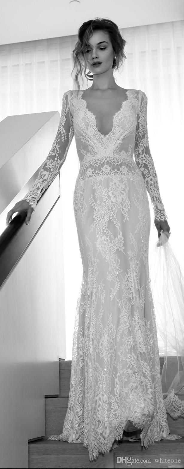 Illusion Long Sleeve 2015 Wedding Dresses Pluning V Neck Backless Mermaid Bridal Gowns Lace Lihi Hod Orchid Applique Ruched Vintage