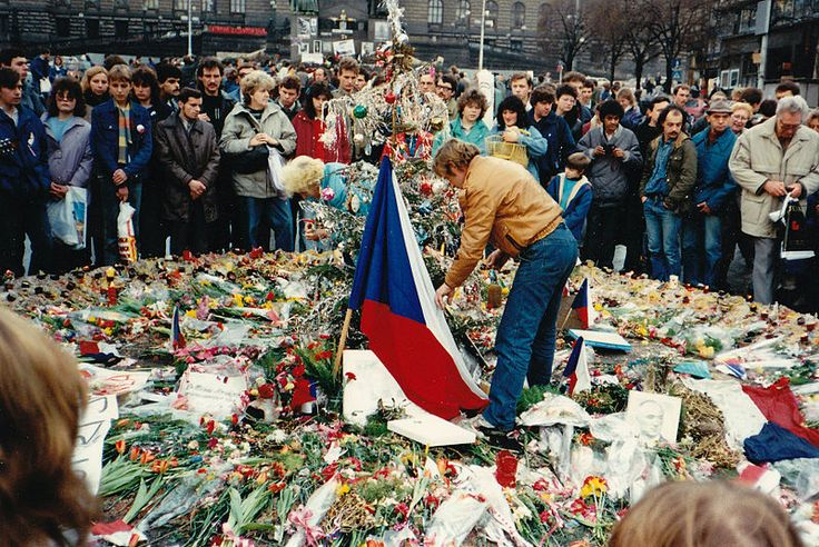 Václav Havel honoring the deaths of those who took part in the Prague protest.
