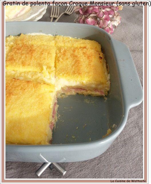 Voilà un plat simple et rapide , Comme des Croques mais sans gluten. Ingrédients 750 ml de lait 400 ml de crème liquide 150 g de polenta 4 tranches de jambon 200 g d'émmental râpé 2 cuillères à soupe de polenta (pour la finition), chapelure pour un version...