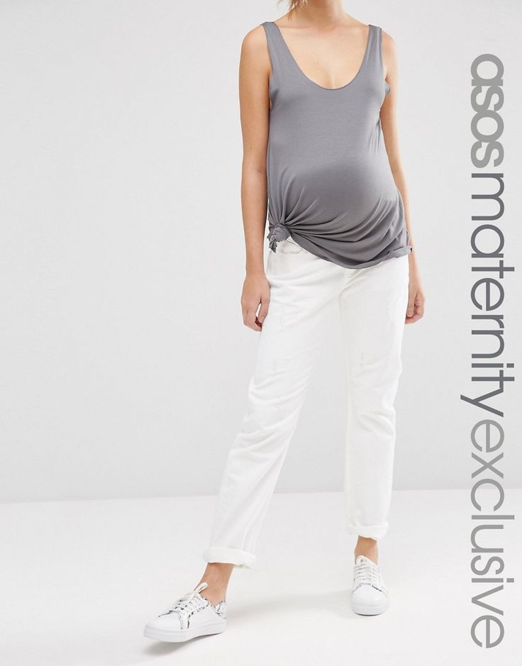 ASOS Maternity Boyfriend Jean In White With Over The Bump Waistband