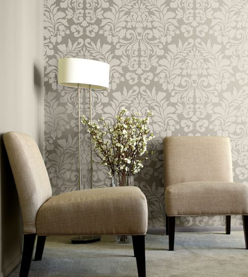 Wall Stencil/ wallpaper Love the muted tones Good for an accent wall