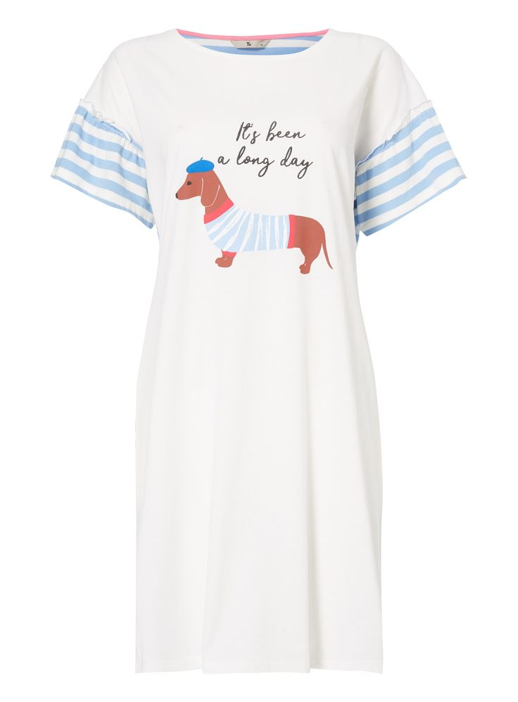 Perfect for laid back nights in, this sleep dress is woven from pure cotton. Accented with stripes and a sausage dog print, it's a playful addition to a wardrobe. White sausage dog sleep dress Crew neck Short sleeves Frill trim Striped pattern Model's height is 5'11