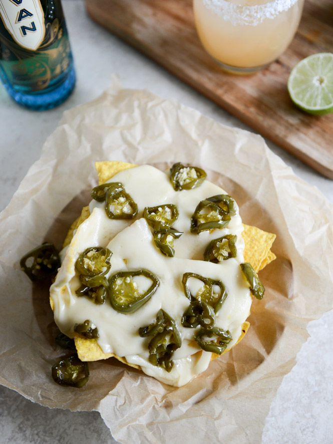 Nachos with  Fontina Queso and Candied Jalapenos