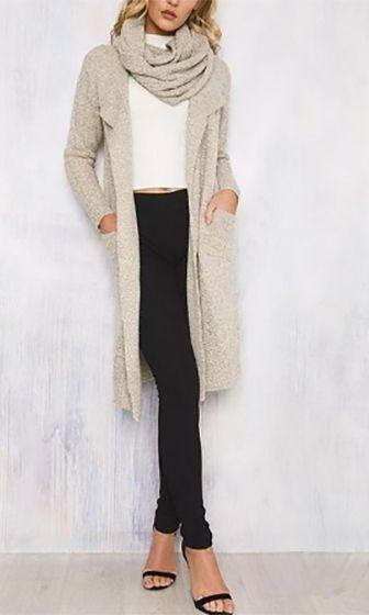 Winter Romance Beige Long Sleeve Knee Length Scarf Open Cardigan Duster Sweater