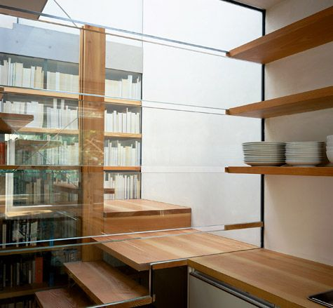 Books and counters and stairs and shelves - this is the beautifully executed Span house, Blackheath, London