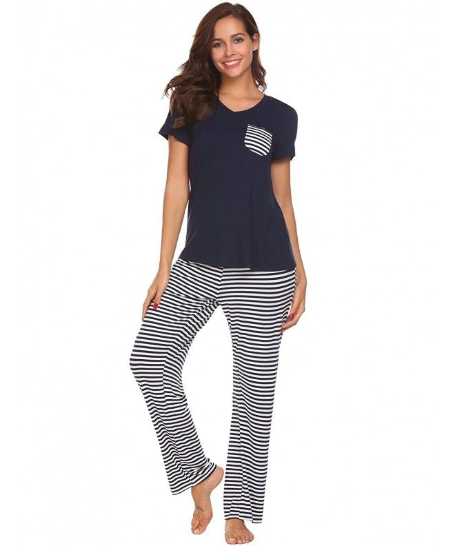Pajama Set Womens Striped Sleepwear Short Sleeve Top   Pants Pjs - Navy  Blue - C3187G35WLN 3843c29c2