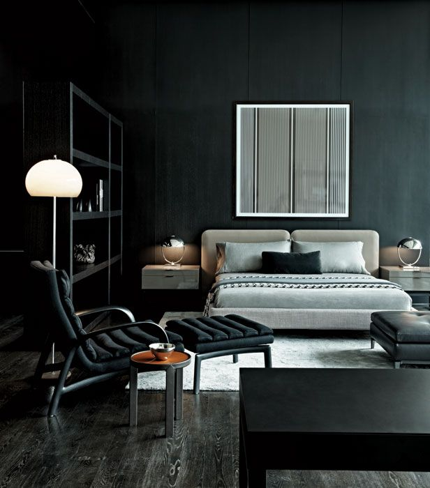 Check out more design and flooring ideas on www.carolinawholesalefloors.com or on our Facebook page!   Dark grey hardwood floor + black walls + great styling.: Interior Design, Black Walls, Masculine Bedrooms, Dark Walls, Bedroom Design, Black Bedrooms