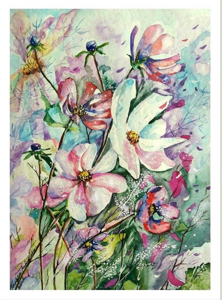 Kwiatki. (akwarela 2017r.) autor: Teresa Kopańska