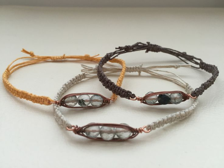 Gem pea pod macrame bracelet, in your color.