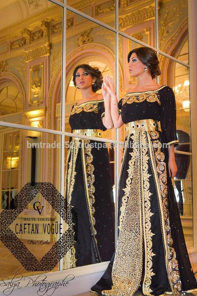 Black Color Chiffon Moroccan Caftan With Awesome Golden Work On It For European…