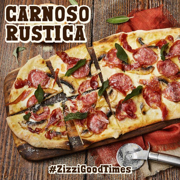 A white base of Fior di Latte & smoked mozzarella, truffle-infused salami, crispy wild boar prosciutto, mushrooms, Grana Padano, crispy sage leaves & smoked garlic oil. #ZizziGoodTimes