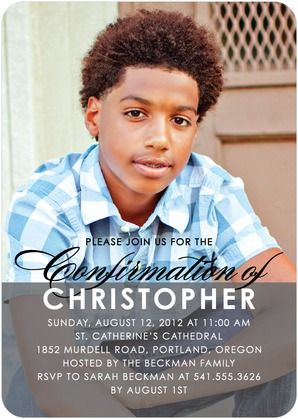 Clear Confirmation: Boy - Confirmation Invitations - Magnolia Press - Charcoal - Gray : Front