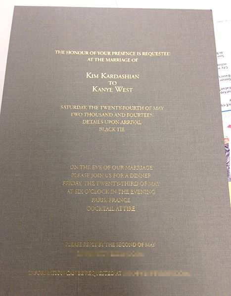 Exclusive! Kim Kardashian and Kanye West's wedding invitation!