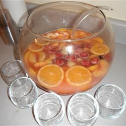 [MADE IT: added more cherries] Christmas Rum Punch Allrecipes.com + add cinnamon, cloves + sprite or gingerale instead of soda water