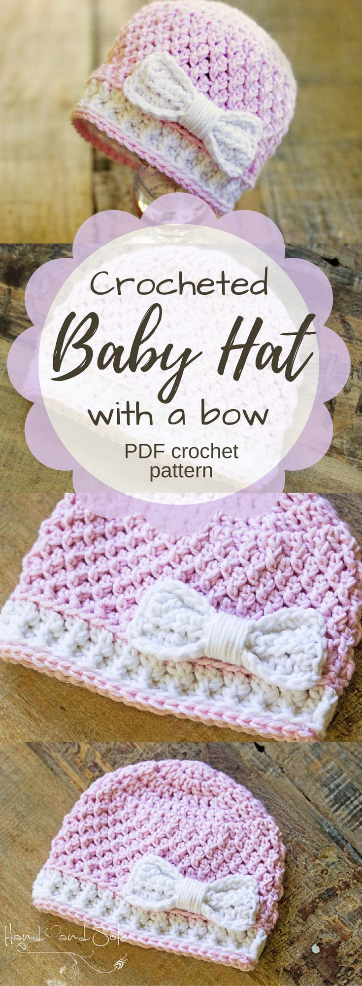Cute pattern for a crocheted baby hat with a bow. Would be adorable on a new baby girl! Love the stitch pattern and the bow detail! #etsy #ad #pdf #instantdownload