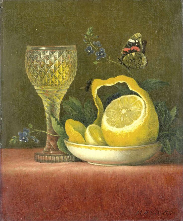 Stilleven met citroen en geslepen glas, Maria Margaretha van Os, 1823 - 1826