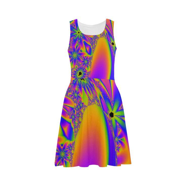 Multicoloured Flower Fractal Sundress - artwork designed by Tracey Lee Art Designs.