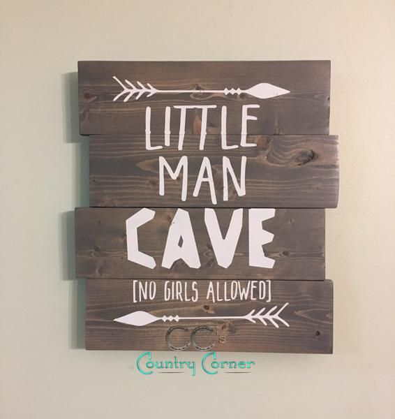 Lil Man Cave Ideas : Little man cave pallet style wood sign babyrum och