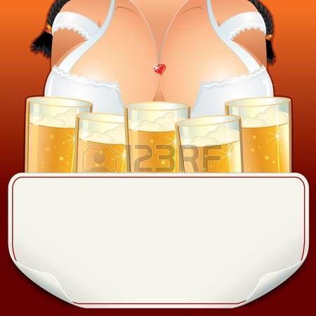 Curvas Oktoberfest camarera chica con gran cantidad de jarras, ilustración vectorial son signo de papel para el texto.