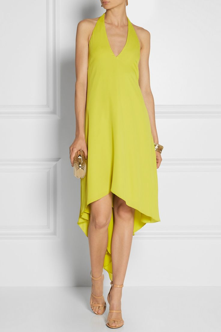 Halson Heritage - Draped-back georgette halterneck dress