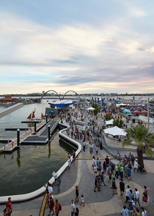 A review of Perth's newest public place: A sinuous pedestrian bridge by Arup at Elizabeth Quay by ARM Architecture and Taylor Cullity Lethlean.
