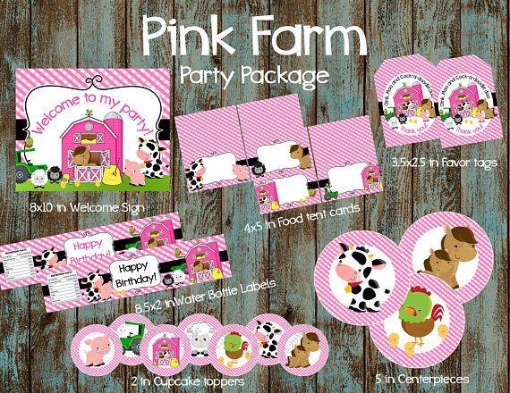 Birthday Party Decoration Farm Animal Pink Barn Banner