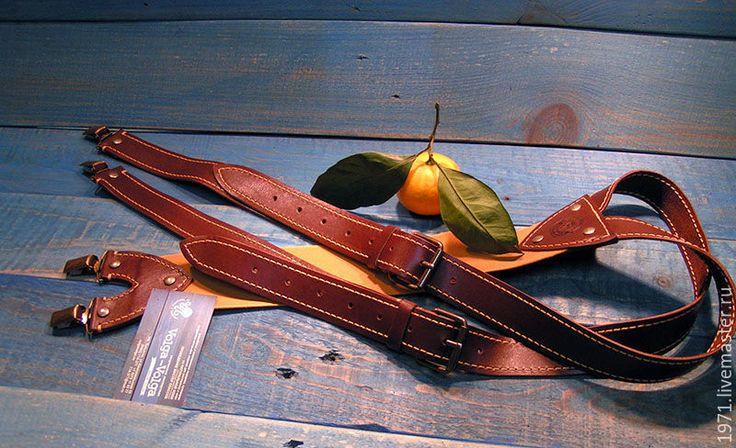 Купить ДЕНДИ кожаные подтяжки - желтый, подтяжки, подтяжки из кожи, подтяжки мужские, подтяжки женские