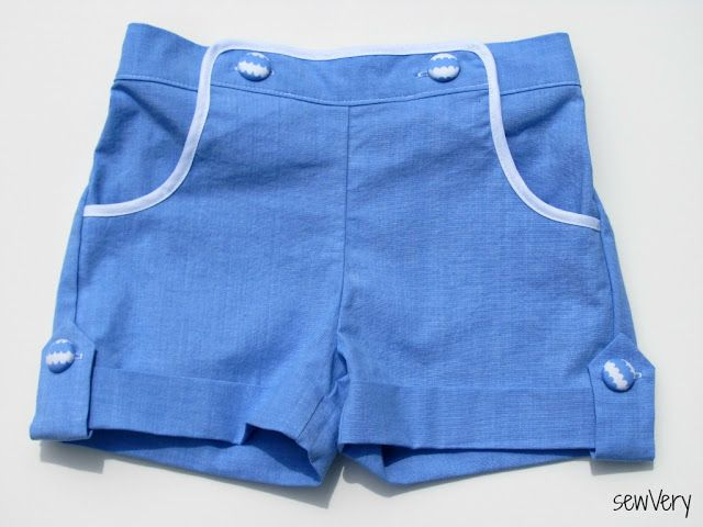 sewVery: How to Add a Button Tab to Cuffed Shorts Tutorial