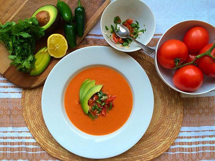Sopa de Tomate con Chipotle en Adobo y Salsa Bandera (Tomato Soup with Chipotle in Adobo and Mexican Fresh Salsa)