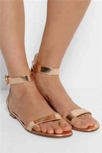 Gianvito Rossi Metallic Leather Sandals Net A Porter.Com