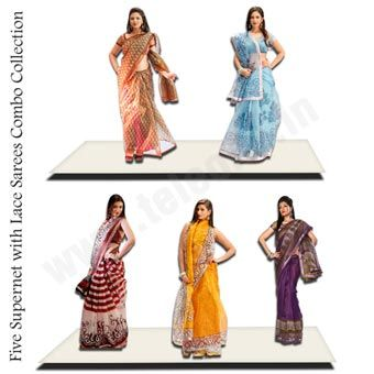 Five Super Net With Lace Saree Combo - This exquisite five supernet with lace sarees combo collection has been designed keeping in mind the different moods and occasions.This series is dedicated to sarees for formal occasions and wedding sarees that can help you make the impression that you want. Order Now @ 09212600900 , 09250018100