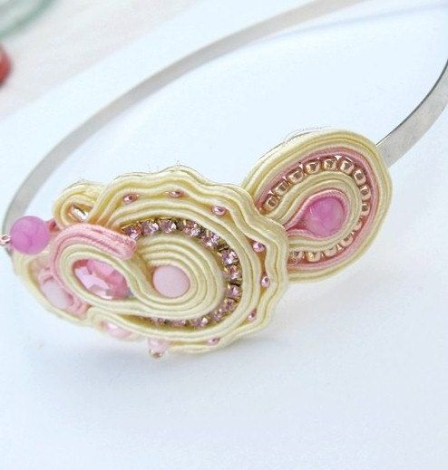 Headband SoutacheBeige  Embroidered Hand Made Accesories Zircons Beads Toho Hand Embroidered Accessories Soutache Pink  Shiny Gift Gracefull...
