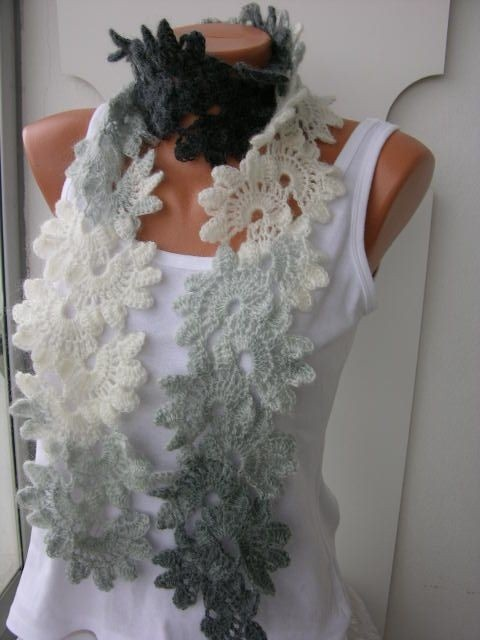 Crochet Lace Scarf  Queen Anne